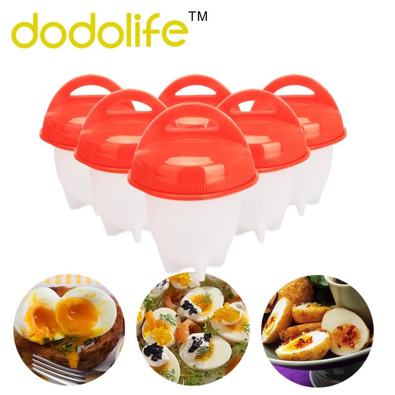 Dodolife Egg Cooker 6pcs/set Boiler Hard Boil Egg Container Mold Without Shells Egg Poachers Silicone Eggs Steamer Dropshipping