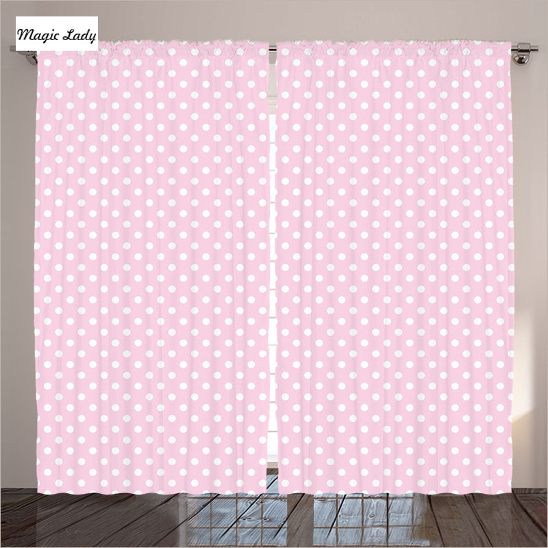 Vintage Inspired Classic Soft Pink Nursery: Pink Curtains Living Room Bedroom Retro Polka Dots Vintage