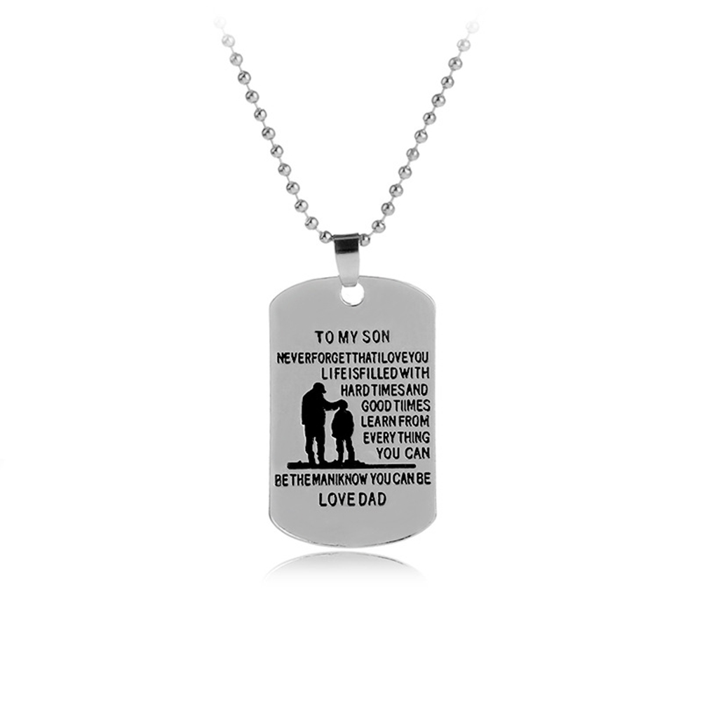 TO MY SON Military Army Style Dog Tag Pendant Necklace Men Meaningful Jewelry