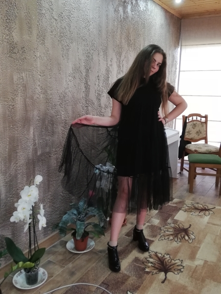 Spring New Large Size Long Big Size Net Yarn Spliced Black O Neck Short Sleeve Sexy Mesh Dress Woman 5Xl photo review