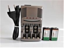 SHSEJA Good quality 2PCS 2000mah 9V NiMH rechargeable Set, 9v rechargeable battery + 1pcs Universal 9v aa aaa battery charger