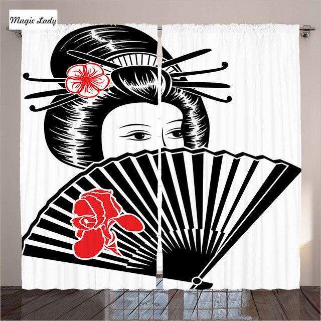 Rideaux Chinois Style Oriental Orientale Femme Sexy Jolie Épée Guerrier  Japonais Style Salon Chambre Blanc 290x265
