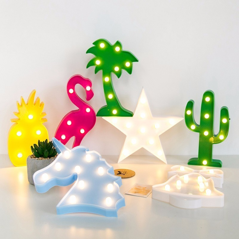 Cactus Christmas Tree.Us 3 01 13 Off Doax 3d Led Star Heart Flamingo Cactus Pineapple Christmas Tree Wall Desk Lamp Party Decoration Night Light Aa Battery Powered In Led