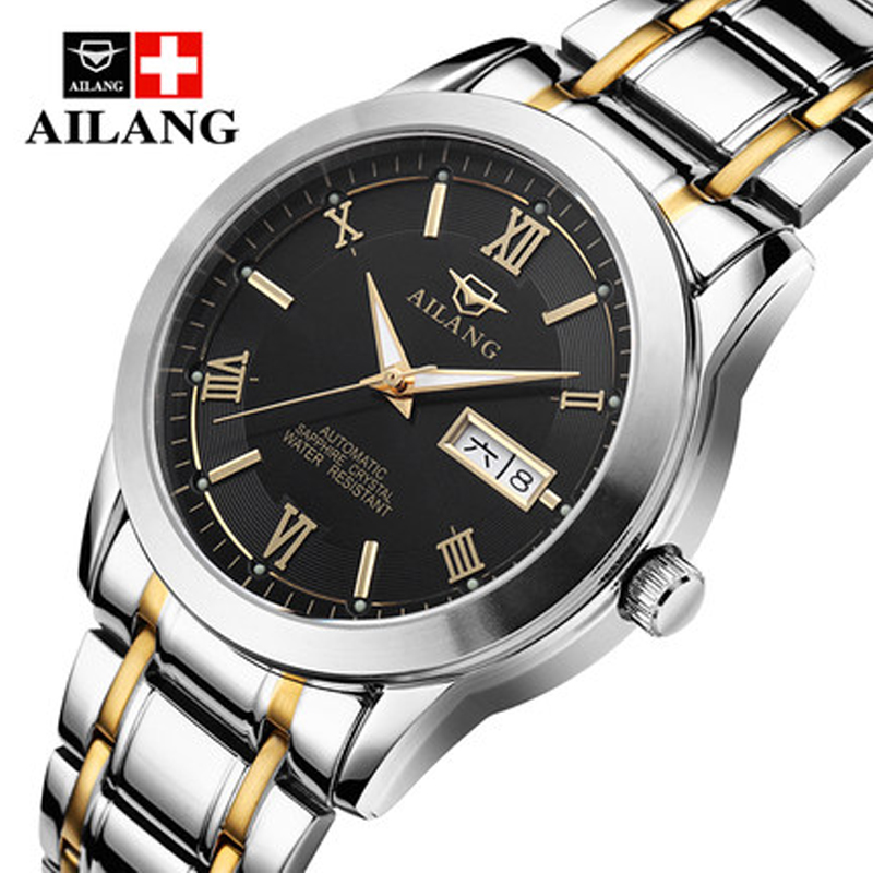 AILANG Watches Men Business Luxury Sport Automatic Date Mechanical Steel Watch Luminous Mens Tourbillon Top Brand Wristwatch original binger mans automatic mechanical wrist watch date display watch self wind steel with gold wheel watches new luxury
