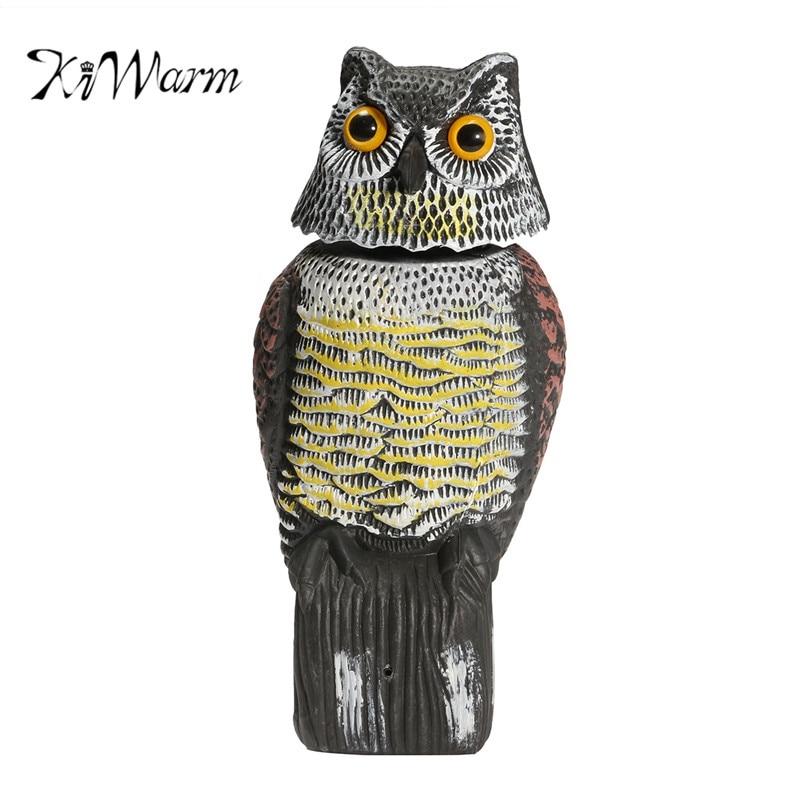 KiWarm Realistic Plastic Owl Decoys With Rotating Head Pest Control  Repellent Bird Scarer Scarecrow Statues Garden