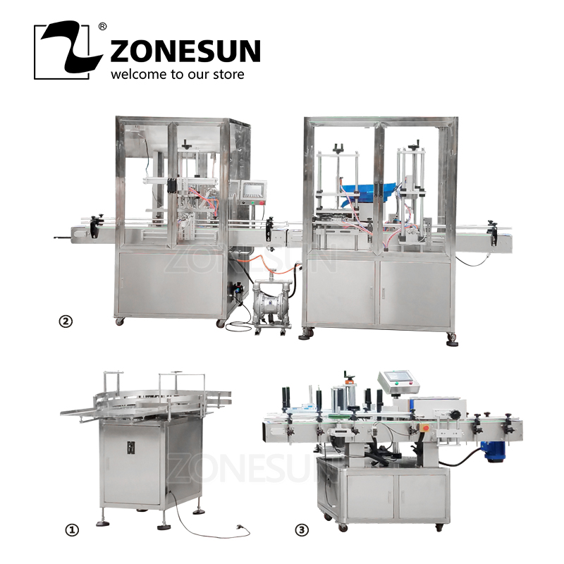 Zonesun Volledige Automatische Pasta Vulling Elektrische Plastic Glas Parfum Shampoo Nagellak Fles Aftopping Etikettering Verpakkingsmachine