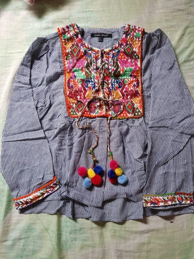 women vintage Boho embroidery jacket vintage loose retro pleated coat long sleeve color fur balls casual outwear tops CT1206