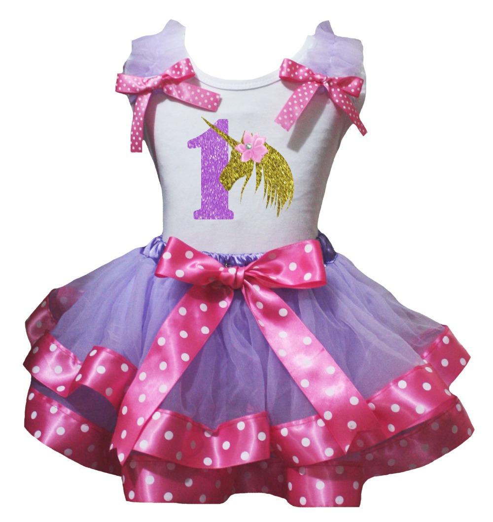 Unicorn Birthday 1ST 2ND 3RD 4TH White Pink Cotton Shirt Yellow Lavender Petal Skirt Girl Outfit Set Nb-8y LKPO0080 rhinestone i like bows white pettitop top shirt dusty pink bow pettiskirt dress set 1 8y mapsa0536