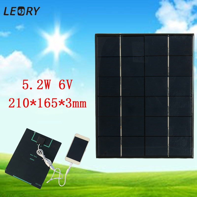 LEORY 5.2W 6V Solar Panel Battery Charger Solar Cells DIY Power Bank Camping Charger Module With USB Output For Phones