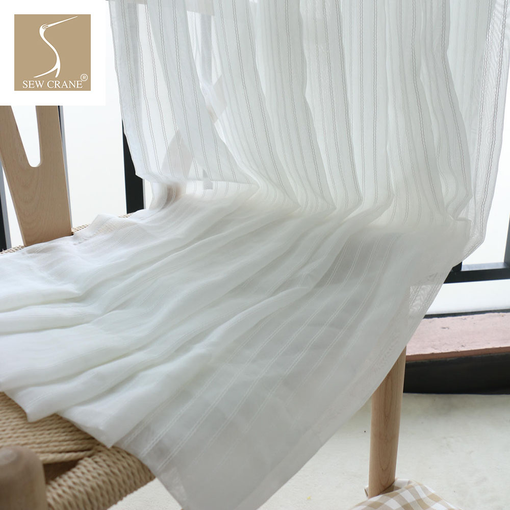 280cm Wide Snow White Striped Sheer Curtain Fabrics Shower