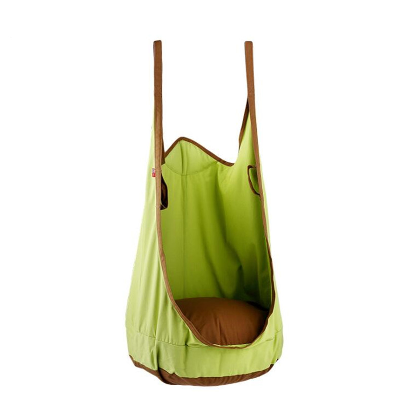 Indoor Outdoor Kid Child Ceiling Swing Pod Chair Cushioned Hanging Hammock Strap
