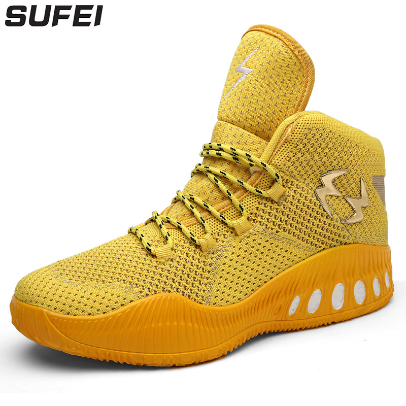 цены sufei High Top Basketball Shoes Men Breathable Mesh Outdoor Sneakers Cool Gold Athletic Cushion Shoes Basketball Sport Boots