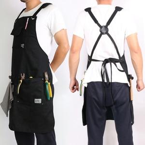 Image 2 - Weeyi resistente preto encerado lona oficina avental homem com bolsos cruz voltar cinta para marceneiro sapateiro barbeiro pequeno a xxl