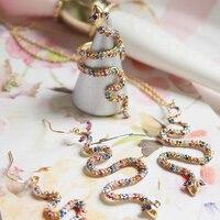 Magnifique coloré serpent boucles d'oreilles crochet d'oreille oreille pendaison/collier/anneau ouvert