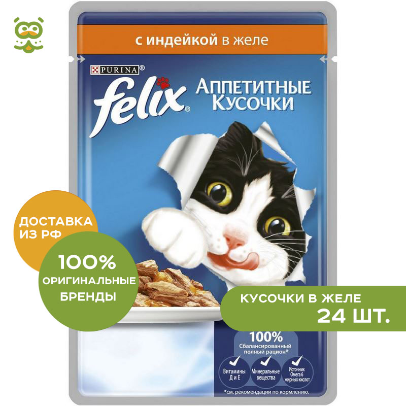 Cat wet food Felix Appetizing poucher pieces for cats (pieces in jelly), Turkey, 24*85 g. цена и фото