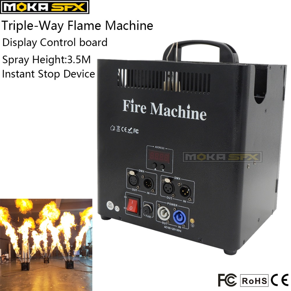 3 Head Stage Fire Machine 5 Channels Spray Cans Big Flame Machine LCD Display Flame Projector Stage Lighting Effect