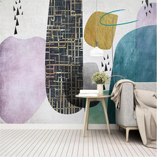 Personality abstract geometric square TV background wall professional production of high-end mural factory wholesale