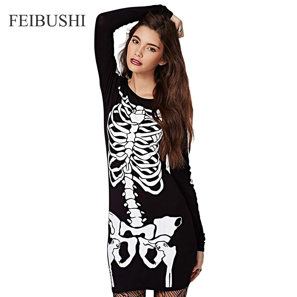 7fe7cd2cf06 FEIBUSHI Womens Skeleton Bones Halloween Dress Bodycon Party Fancy Dress Long  Sleeve Pencil Casual Party Dress 1 ...