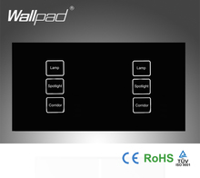 110-250v Wallpad 6 gang 1 way Waterproof Crystall Glass Black, 172*86mm Double DIY touch light wall switch,Free Shipping