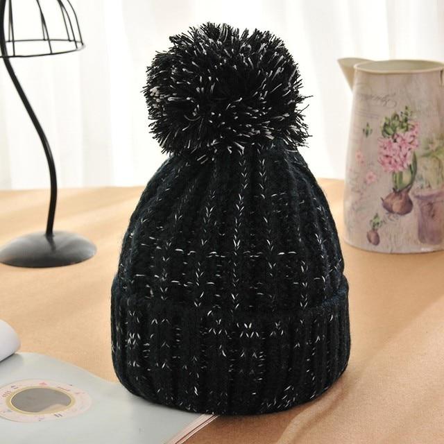 8531471be08 New Winter Knitted Hats For Women Men Unisex Ski Beanies Skullies Beanies  Caps Knitting Ball Wool Cap Warm Pom Poms Crochet Hat
