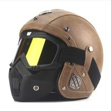 New Retro Vintage German Style Motorcycle Helmet 3/4 Open Face Helmet Scooter Chopper Cruiser Biker Moto Helmet DOT Glasses Mask