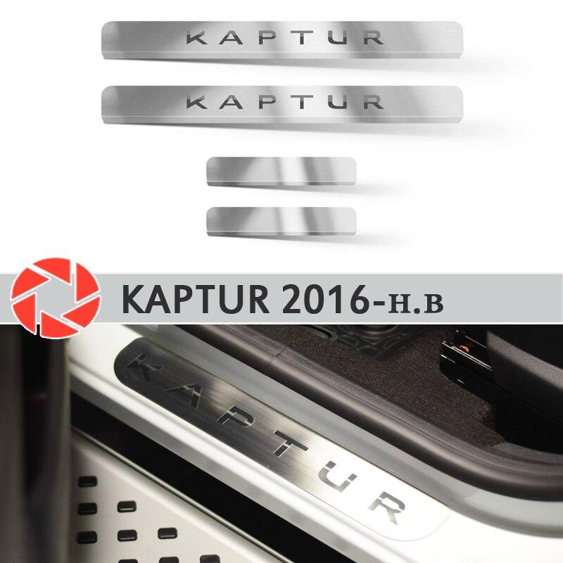 Seuils de porte pour Renault Kaptur 2016-2019 marchepied plaque garniture intérieure accessoires protection éraflure voiture style décoration laser lettres