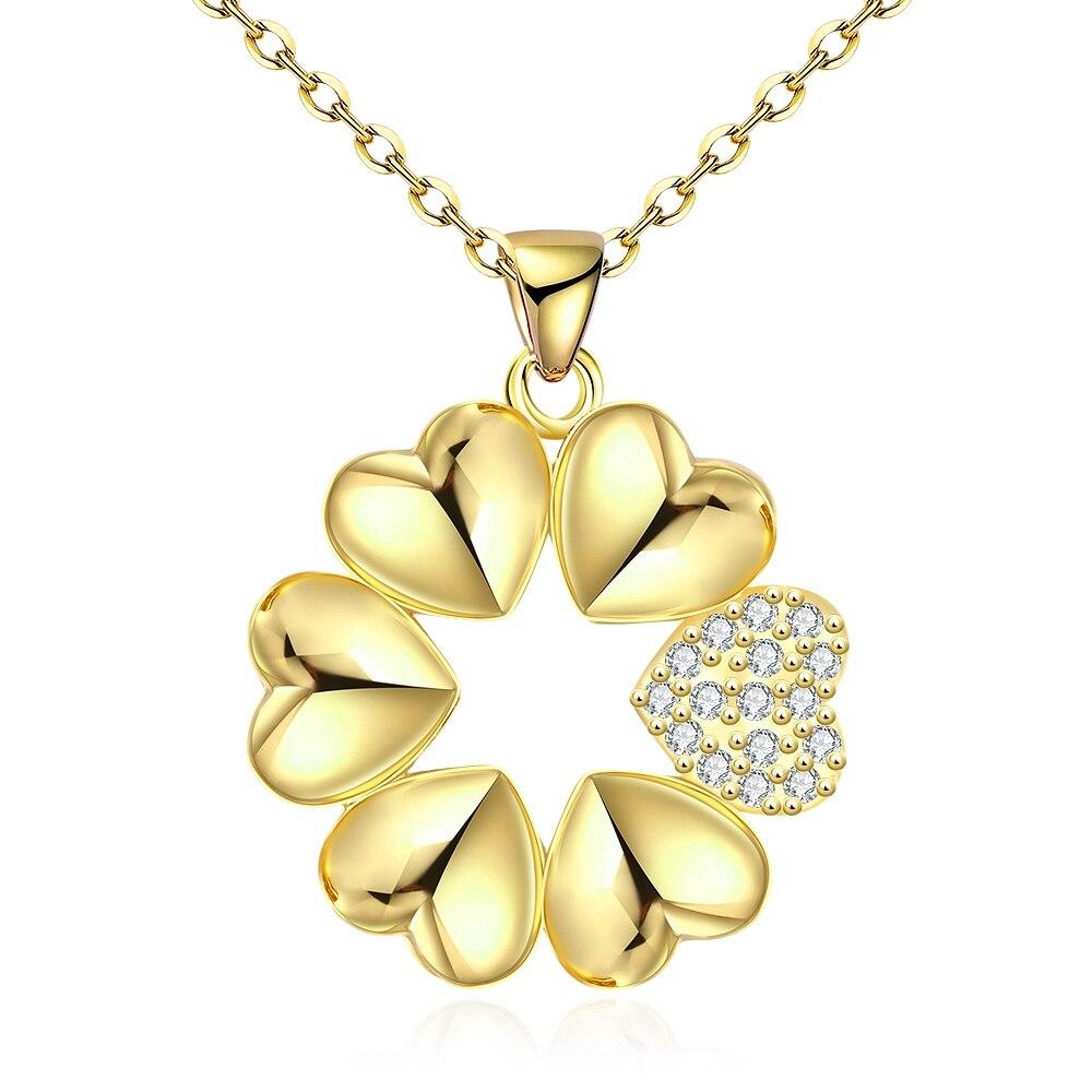 Романтический Сердце Форма объединить цветок Дизайн покрытие золото тонкая цепочка значение Jewelry Подвеска Цепочки и ожерелья