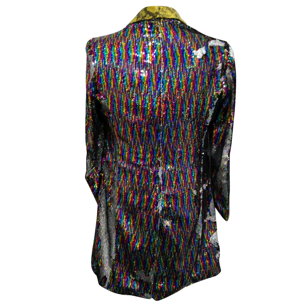 HCF by Air Mens 1 Piece Printed Flannel Lapel Long Pattern Colors Costumer Jacket With Shiny Sequins For Any Party - 3