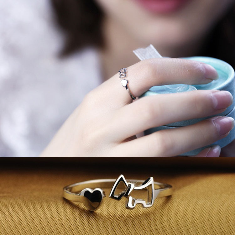 Fashion High Grade Silver Color Love Hollow Horse Lady Finger Opening Ring Adjustable Drop Shipping RING-0068