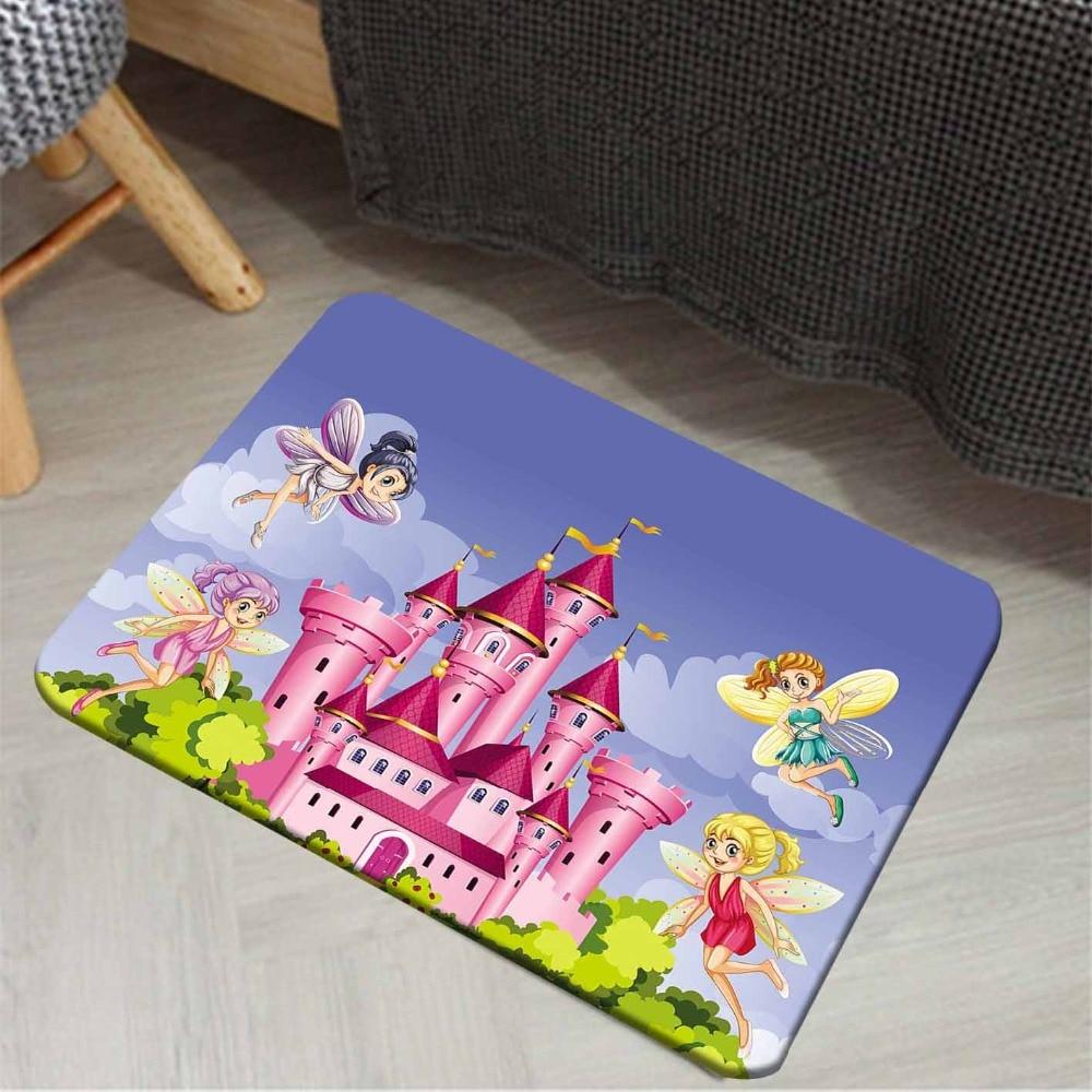 Else Blue Sky Green Floral Cloud Pink Castle Fairy 3d Cartoon Print Anti Slip Doormat Home Decor Entryway Kids Children Room Mat