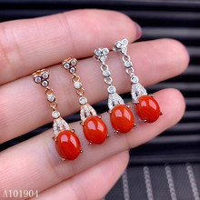 KJJEAXCMY boutique jewelry 925 sterling silver inlaid natural red coral gemstone female luxury earrings support detection