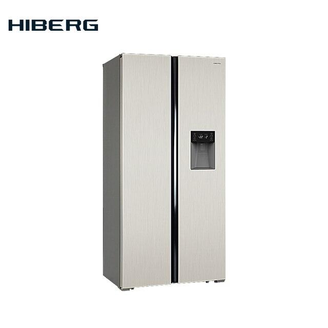 Холодильник Side-by-Side HIBERG RFS-484DX NF, цвет бежевый, диспенсер для воды на двери холодильного отделения, класс энергоэфективности А+, Обьем 476л (271+176)