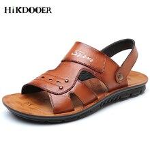 2018 Men Genuine Leather Sandals Casual Leather Shoes Male Fashion Sandal Summer Beach Shoes Flats Men Outdoor Sandals цена 2017