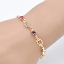 Fashion Handmade Jewelry Accessories Alloy Leaves Pattern Woman Bracelets – gold Color