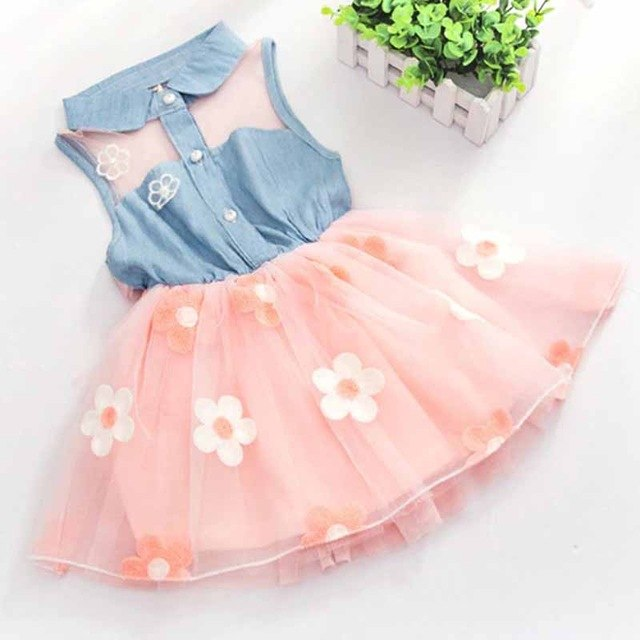 Baby Dress New 2018 Summer Children's Floral Lemon Sling Bow Cotton Sling Rainbow Striped Cartoon Strap Girl Princess Dresses