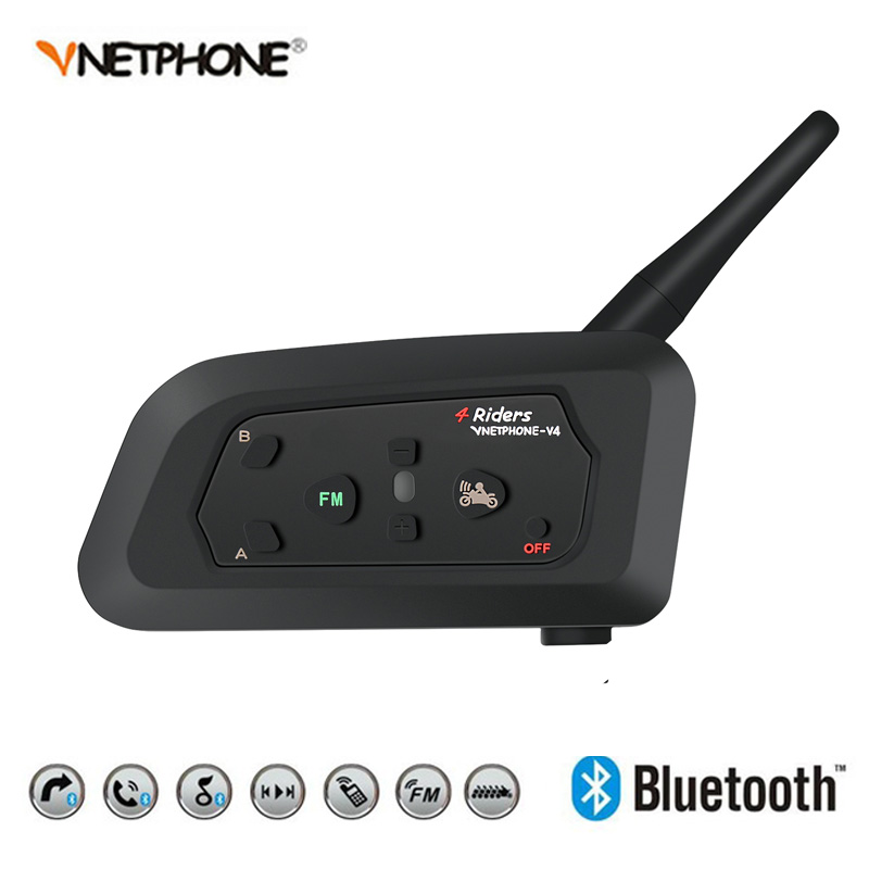 Vnetphone V4 1200 m Bluetooth moto vélo Interphone 4 coureurs casque haut-parleur Interphone pour KTM arai casque Football arbitre