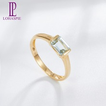 LP Customized Natural Gemstone Aquamarine Yellow Gold Engagement Ring 9K 10K 14K 18K Fine Fashion Stone Jewelry For Women's Gift