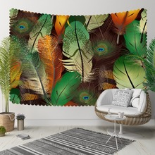 Else Green Brown Orange Bird Peacock Feathers Animal 3D Print Decorative Hippi Bohemian Wall Hanging Landscape Tapestry Wall Art