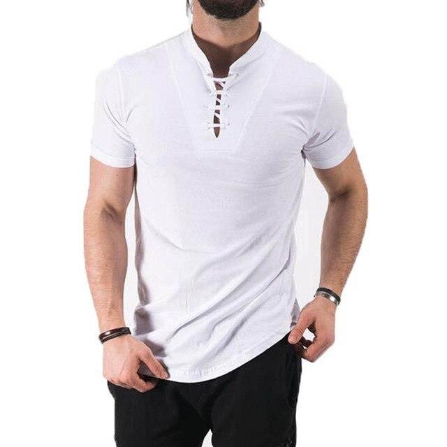 a293d699d43 2018 Stylish Summer Lace Up T-shirt Men s Short Sleeve Stand Collar Elegant  Cotton Blend Tee Top Casual Slim Fit Men T Shirt