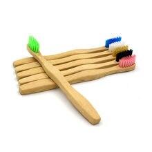 Brosse à dents en bambou naturel à tête souple, manche en bambou, poils souples, brosse à dents en bois pour enfants, 1 pièce, livraison directe