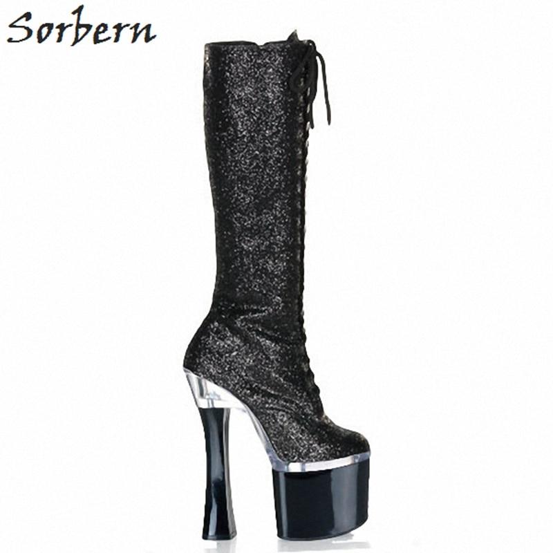 Sorbern noir paillettes genou bottes hautes pour femmes talons hauts extrêmes femmes chaussures mode 2018 gothique dames bottes personnalisé jambe