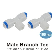 100 PACK OF Male Branch Tee 1/4-Inch OD x 1/4-Inch Thread x 1/4-Inch Quick Connect Fittings for Water Filters and RO Systems цена 2017