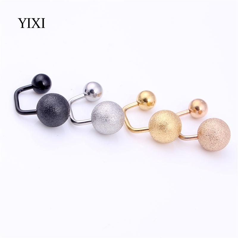 YIXI Rock Frosted Ball Popular Stainless Steel Earrings For Women Men Gold Silver Unisex Punk Double Sided Earring Stud Brincos