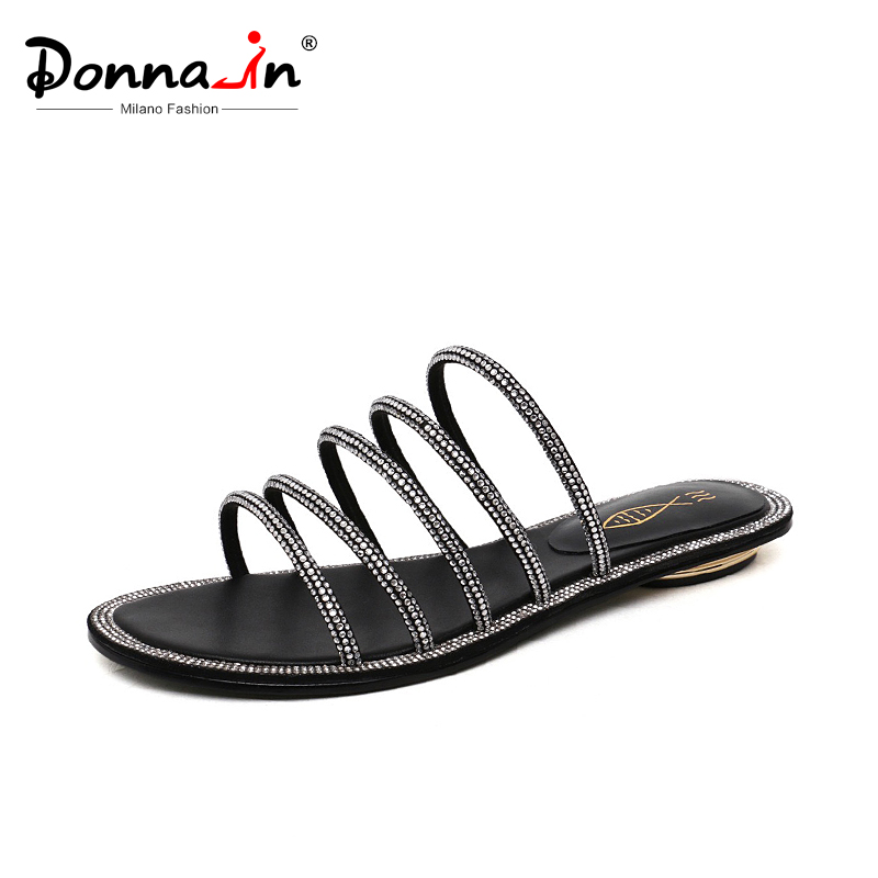 Donna-in 2019 New Summer Fashion Slippers Women Strap Slides with Rhinestones Genuine Leather Casual Ladies Shoes OutdoorDonna-in 2019 New Summer Fashion Slippers Women Strap Slides with Rhinestones Genuine Leather Casual Ladies Shoes Outdoor