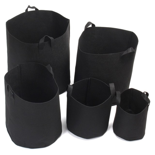 Grow Bags 5pcs Set Round Fabric Nursery Pots Flower Plant Pouch Root Container Aeration
