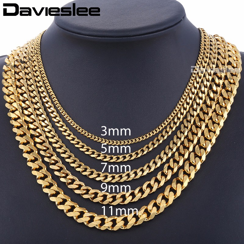 Mens Necklaces Chains Stainless Steel Silver Black Gold Necklace For Men Women Curb Cuban Davieslee Jewelry 3/5/7/9/11mm DLKNM08(China)