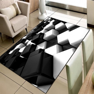 Else Black White Cubes Geometric 3d Print Non Slip Microfiber Living Room Decorative Modern Washable Area Rug Mat