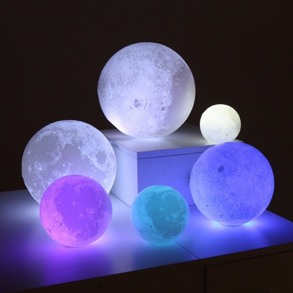 12/15/18cm 3D Print Moon Lamp Creative Moon Light LED RGB Moon Light Colorful Battery Perfect Gift Night Light Lunar Light image