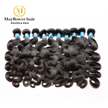 "Mayflower 10 Pacotes Malaio Onda Do Corpo 100% Cabelo Virgem Tece De 12-26 ""em Estoque Cutícula Completa Intacted Cor Natural"
