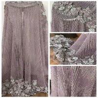 HFX высокое качество Сиреневое платье Кружевная аппликация французская Вышивка Тюль Чистая кружевная ткань тяжелая ручная работа бисерная